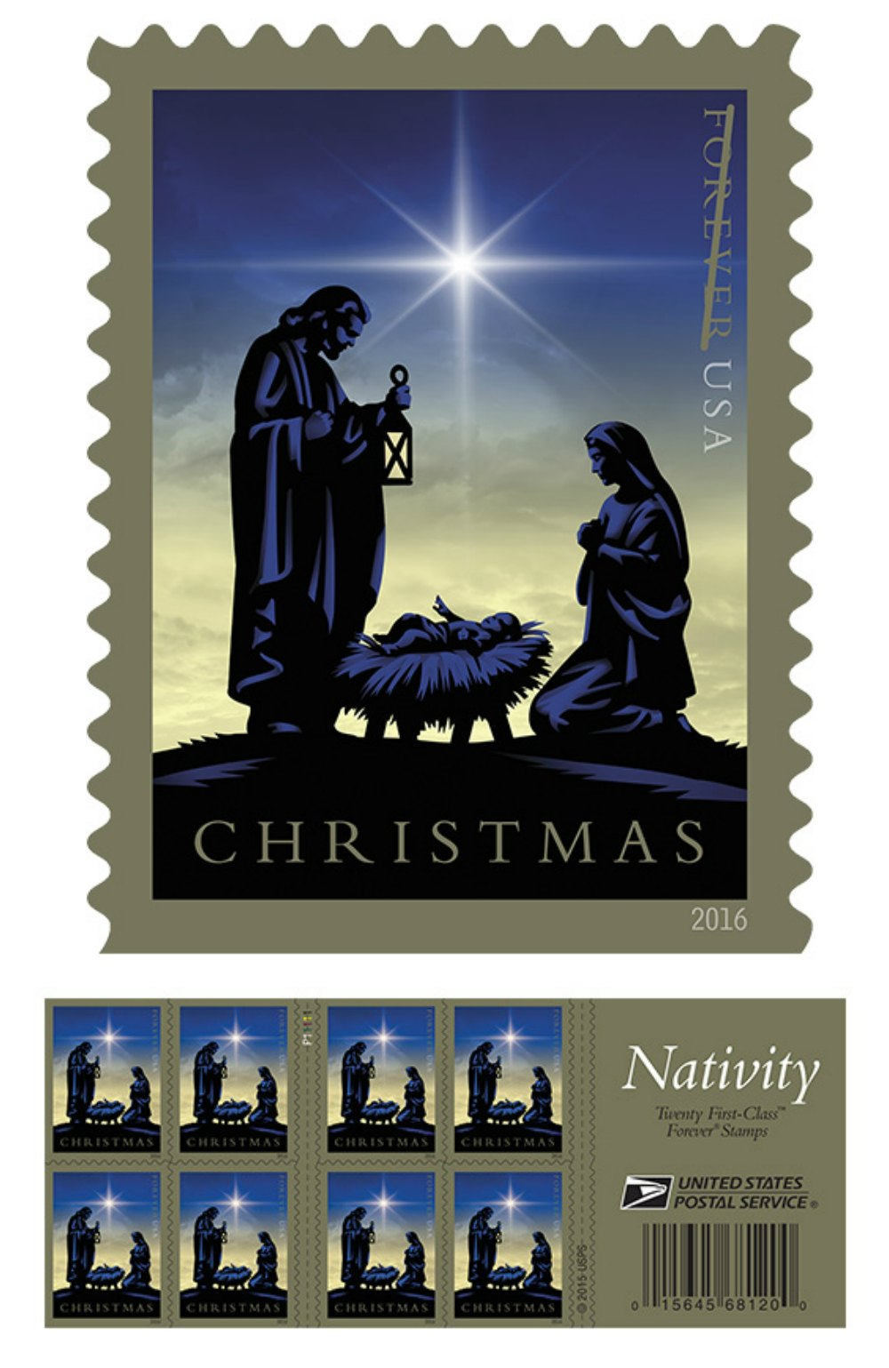 2016 christmas stamp from the usps features nativity scene